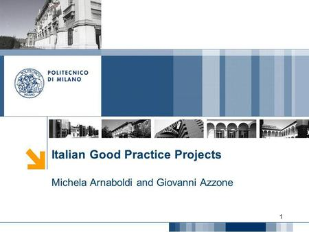 Italian Good Practice Projects Michela Arnaboldi and Giovanni Azzone