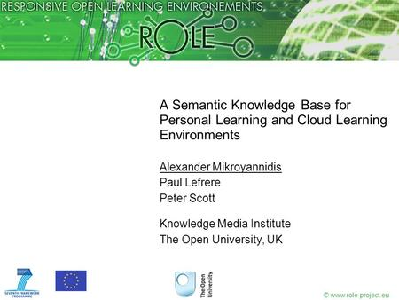 © www.role-project.eu A Semantic Knowledge Base for Personal Learning and Cloud Learning Environments Alexander Mikroyannidis Paul Lefrere Peter Scott.