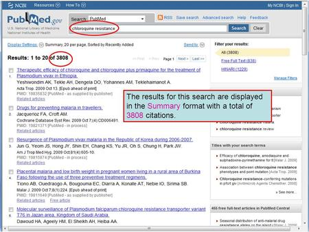 The results for this search are displayed in the Summary format with a total of 3808 citations.