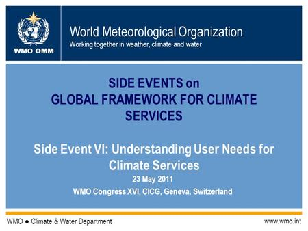World Meteorological Organization Working together in weather, climate and water WMO OMM WMO Climate & Water Department www.wmo.int SIDE EVENTS on GLOBAL.
