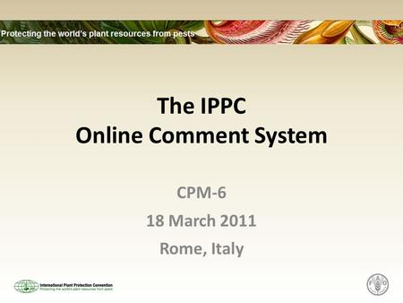 The IPPC Online Comment System CPM-6 18 March 2011 Rome, Italy.