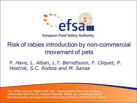 1 Risk of rabies introduction by non-commercial movement of pets The EFSA Journal (2006) 436 1-54, Assessment of the risk of rabies introduction into the.