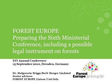 FOREST EUROPE Preparing the Sixth Ministerial Conference, including a possible legal instrument on forests EFI Annual Conference 15 September 2010, Dresden,