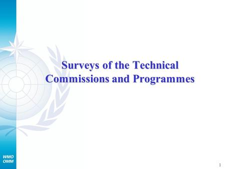 1 Surveys of the Technical Commissions and Programmes.