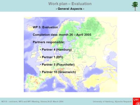 Work plan – Evaluation - General Aspects - NEFIS – mid-term, WP2 and WP3 Meeting, Vienna 24-25 March 2004 University of Hamburg, Aljoscha Requardt WP 5: