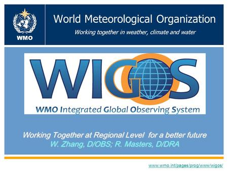 World Meteorological Organization Working together in weather, climate and water Working Together at Regional Level for a better future W. Zhang, D/OBS;