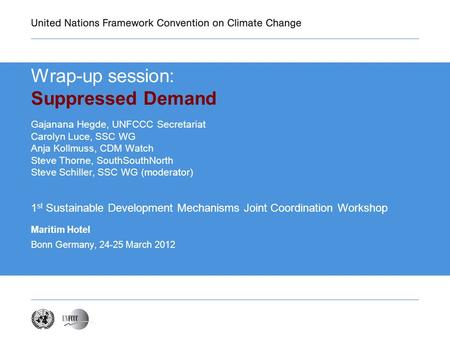 Wrap-up session: Suppressed Demand Gajanana Hegde, UNFCCC Secretariat Carolyn Luce, SSC WG Anja Kollmuss, CDM Watch Steve Thorne, SouthSouthNorth Steve.