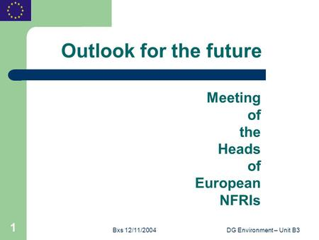 Bxs 12/11/2004DG Environment – Unit B3 1 Outlook for the future Meeting of the Heads of European NFRIs.