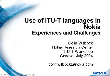 Use of ITU-T languages in Nokia
