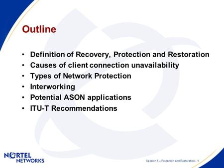 Network Protection and Restoration Session 5 - Optical/IP Network OAM & Protection and Restoration Presented by: Malcolm Betts Date: 2002 07 10.