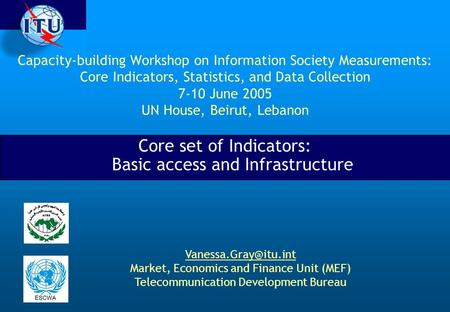 Capacity-building Workshop on Information Society Measurements: Core Indicators, Statistics, and Data Collection 7-10 June 2005 UN House, Beirut, Lebanon.