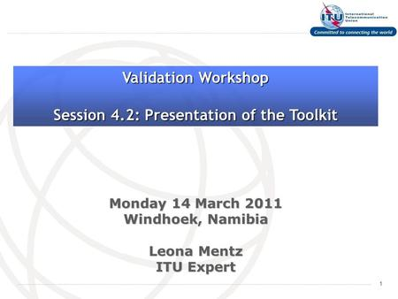 1 Monday 14 March 2011 Windhoek, Namibia Leona Mentz ITU Expert Validation Workshop Session 4.2: Presentation of the Toolkit.