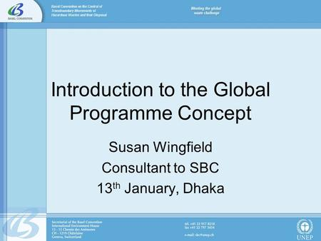 Introduction to the Global Programme Concept Susan Wingfield Consultant to SBC 13 th January, Dhaka.