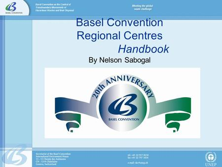 Basel Convention Regional Centres Handbook By Nelson Sabogal.