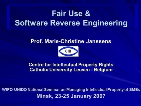 Prof. Marie-Christine Janssens Centre for Intellectual Property Rights Catholic University Leuven - Belgium WIPO-UNIDO National Seminar on Managing Intellectual.