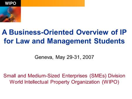 A Business-Oriented Overview of IP for Law and Management Students Geneva, May 29-31, 2007 Small and Medium-Sized Enterprises (SMEs) Division World Intellectual.