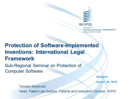 Protection of Software-Implemented Inventions: International Legal Framework Sub-Regional Seminar on Protection of Computer Software Mangalia August 26,
