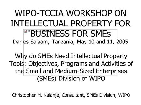 WIPO-TCCIA WORKSHOP ON INTELLECTUAL PROPERTY FOR BUSINESS FOR SMEs Dar-es-Salaam, Tanzania, May 10 and 11, 2005 Why do SMEs Need Intellectual Property.
