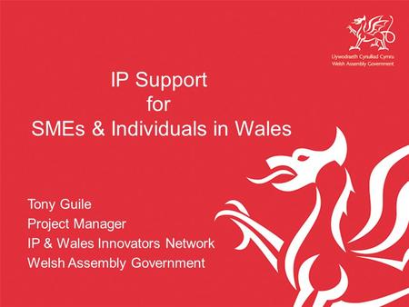 IP Support for SMEs & Individuals in Wales Tony Guile Project Manager IP & Wales Innovators Network Welsh Assembly Government.