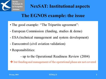 Service Technique de la Navigation Aérienne NexSAT: Institutional aspects 20 may, 2003 STNA/31 The EGNOS example: the issue The good example: The Tripartite.