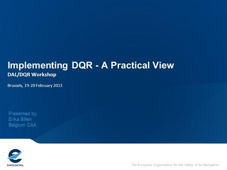 The European Organisation for the Safety of Air Navigation Implementing DQR - A Practical View DAL/DQR Workshop Brussels, 19-20 February 2013 Presented.