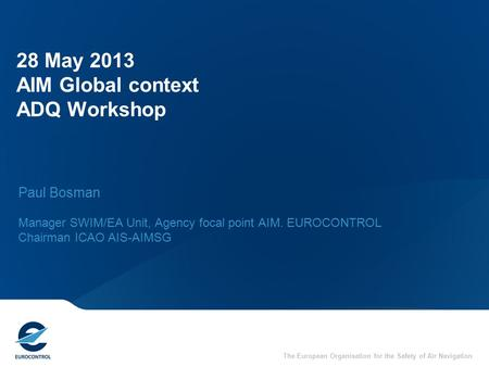 28 May 2013 AIM Global context ADQ Workshop