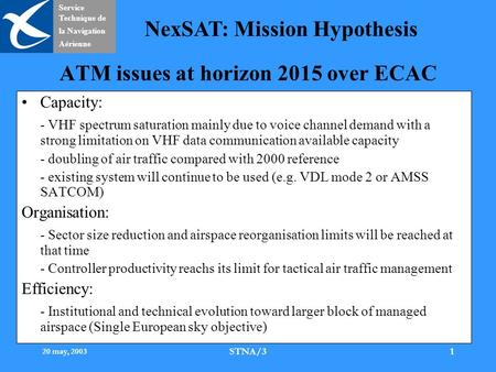 Service Technique de la Navigation Aérienne NexSAT: Mission Hypothesis 20 may, 2003 STNA/31 ATM issues at horizon 2015 over ECAC Capacity: - VHF spectrum.