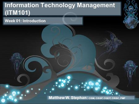 Information Technology Management (ITM101) Week 01: Introduction Matthew W. Stephan: CISM, CISSP, CGEIT, CRISC, PMP.