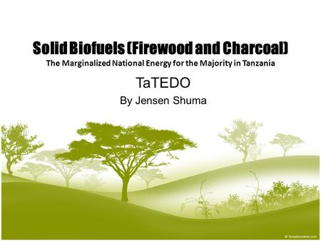 1 Solid Biofuels (Firewood and Charcoal) The Marginalized National Energy for the Majority in Tanzania TaTEDO By Jensen Shuma.