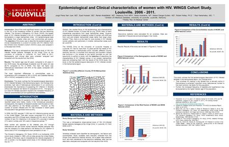 Epidemiological and Clinical characteristics of women with HIV. WINGS Cohort Study. Louisville. 2006 - 2011. Jorge Perez San Juan, MD 1, Syed Hussain,