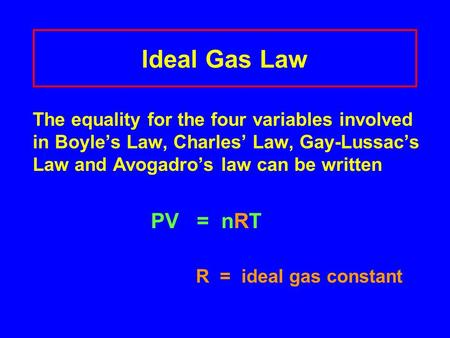 Ideal Gas Law The equality for the four variables involved in Boyle's Law, Charles' Law, Gay-Lussac's Law and Avogadro's law can be written PV = nRT.
