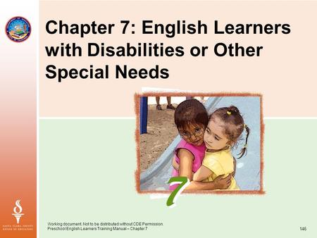 Working document. Not to be distributed without CDE Permission. Preschool English Learners Training Manual – Chapter 7 146 Chapter 7: English Learners.