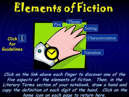 Elements of Fiction Click on the link above each finger to discover one of the five aspects of the elements of fiction. Then, in the Literary Terms section.