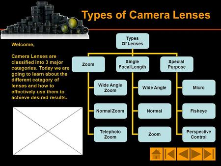 Types of Camera Lenses Types Of Lenses Zoom Wide Angle Zoom Normal Zoom Telephoto Zoom Single Focal Length Wide Angle Normal Zoom Special Purpose Micro.