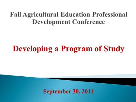 Fall Agricultural Education Professional Development Conference Developing a Program of Study September 30, 2011.