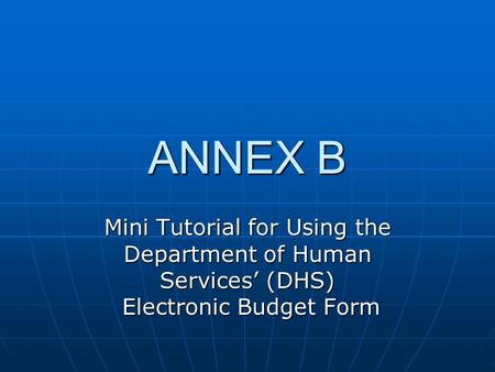 ANNEX B Mini Tutorial for Using the Department of Human Services' (DHS) Electronic Budget Form.