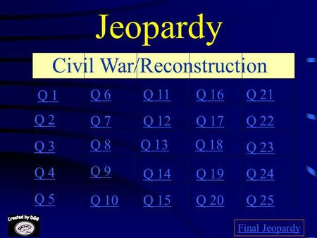 Jeopardy Q 1 Q 2 Q 3 Q 4 Q 5 Q 6Q 16Q 11Q 21 Q 7Q 12Q 17Q 22 Q 8Q 13Q 18 Q 23 Q 9 Q 14Q 19Q 24 Q 10Q 15Q 20Q 25 Final Jeopardy Civil War/Reconstruction.