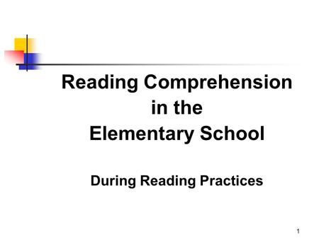 1 Reading Comprehension in the Elementary School During Reading Practices.
