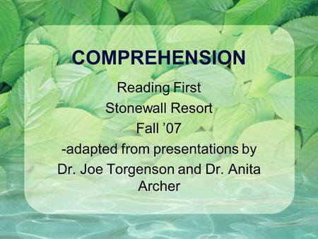 COMPREHENSION Reading First Stonewall Resort Fall 07 -adapted from presentations by Dr. Joe Torgenson and Dr. Anita Archer.