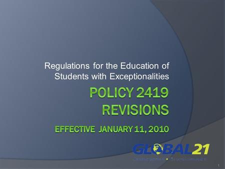 Regulations for the Education of Students with Exceptionalities 1.