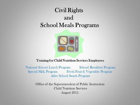 Civil Rights and School Meals Programs