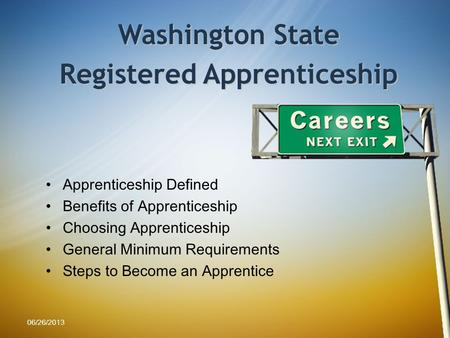 Apprenticeship Defined Benefits of Apprenticeship Choosing Apprenticeship General Minimum Requirements Steps to Become an Apprentice Washington State Registered.