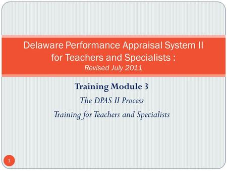 Training for Teachers and Specialists
