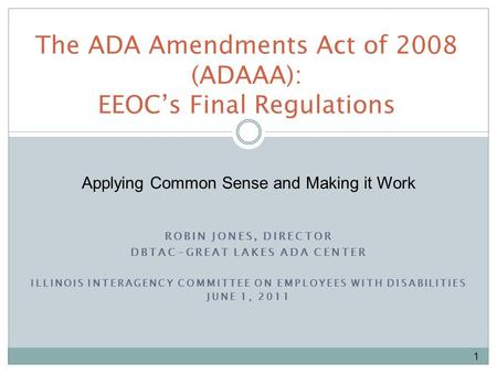 ROBIN JONES, DIRECTOR DBTAC-GREAT LAKES ADA CENTER ILLINOIS INTERAGENCY COMMITTEE ON EMPLOYEES WITH DISABILITIES JUNE 1, 2011 The ADA Amendments Act of.
