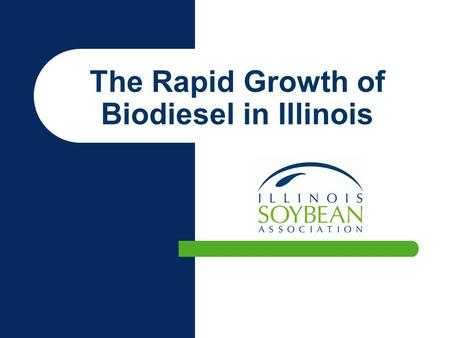 The Rapid Growth of Biodiesel in Illinois. Pre-2003 in Illinois Ethanol Friendly Checkoff funded biodiesel R & D B20 Alternative Fuel Status Iraq – Energy.
