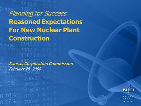 Planning for Success Reasoned Expectations For New Nuclear Plant Construction Kansas Corporation Commission February 28, 2008.