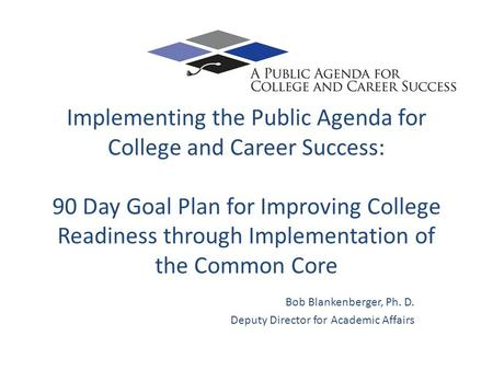 Implementing the Public Agenda for College and Career Success: 90 Day Goal Plan for Improving College Readiness through Implementation of the Common Core.