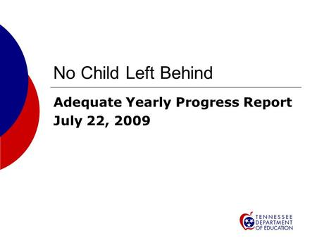No Child Left Behind Adequate Yearly Progress Report July 22, 2009.
