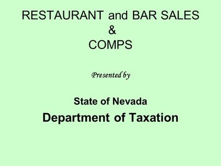 RESTAURANT and BAR SALES & COMPS