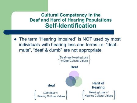 Cultural Competency in the Deaf and Hard of Hearing Populations Self-Identification The term Hearing Impaired is NOT used by most individuals with hearing.